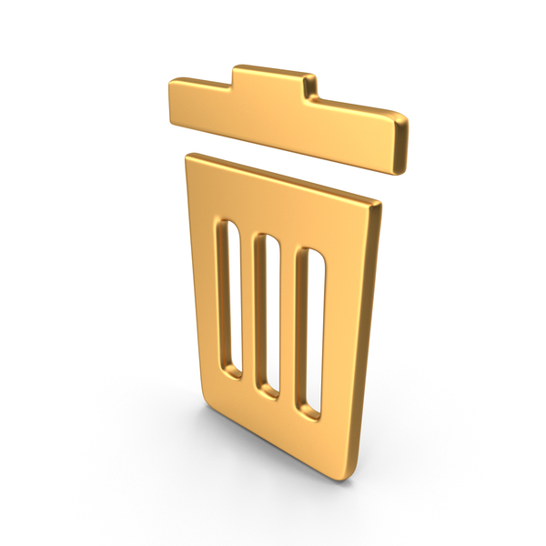 Rubbish Bin Symbol Gold PNG & PSD Images
