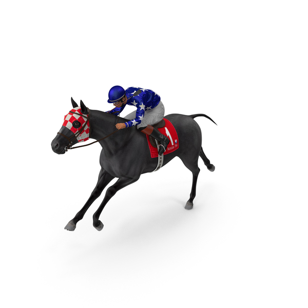 Running Black Racing Horse with Jokey PNG & PSD Images