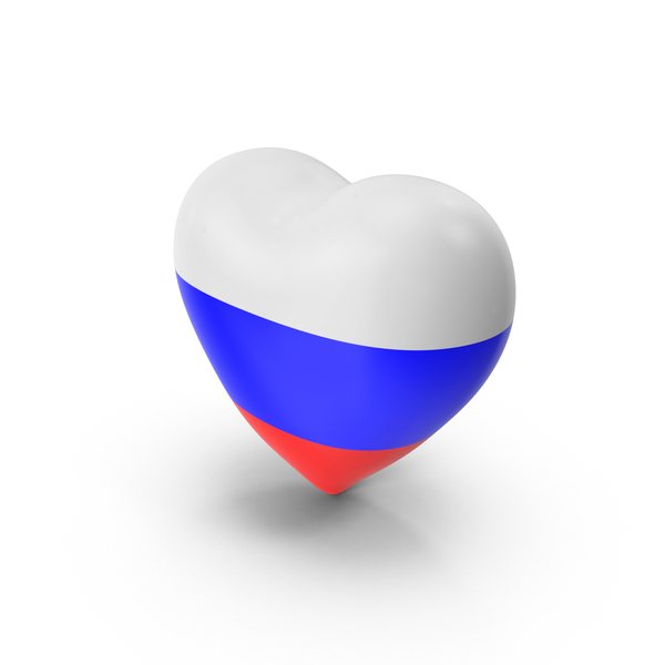 Russia Flag Heart Object