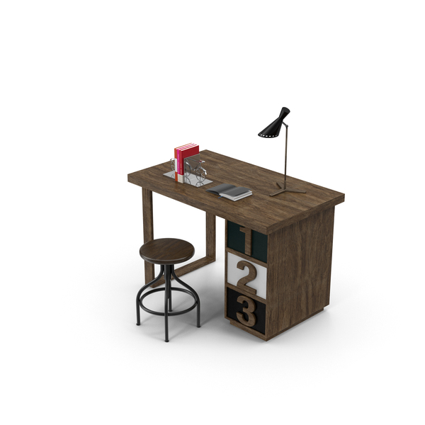 Rustic Desk Set PNG & PSD Images