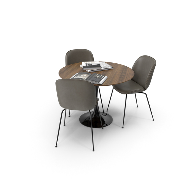 Saarinen Round Dining Table with Beetle Side Chairs PNG & PSD Images