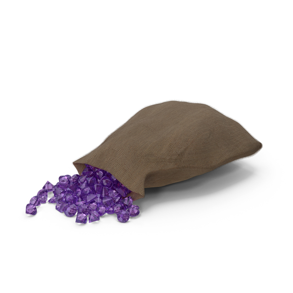 Sack with Amethyst Gems PNG & PSD Images