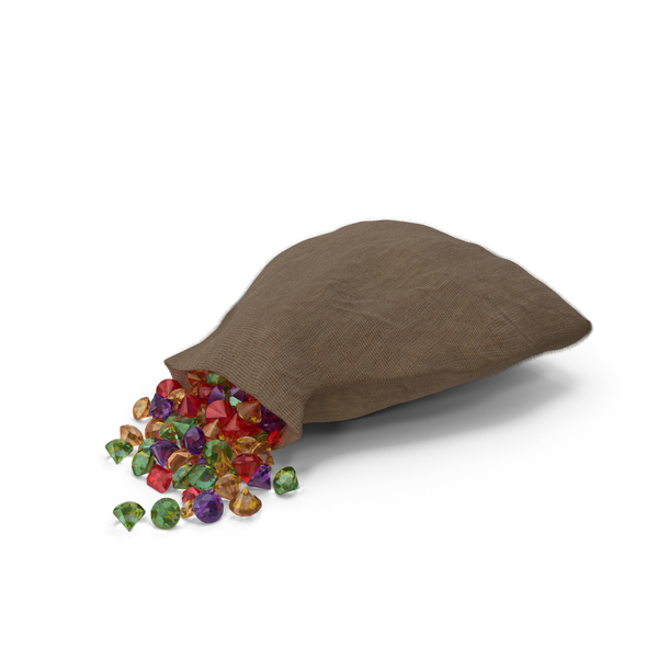 Sack with Mixed Gems PNG & PSD Images