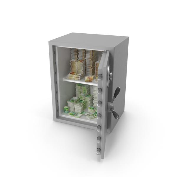 Bank Vault: Safe with Israeli Shekel Stacks PNG & PSD Images
