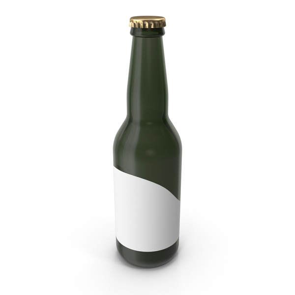 Sample Green Glass Bottle of Beer with Sticker PNG & PSD Images