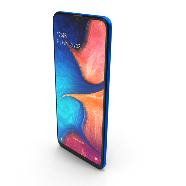 Samsung Galaxy A20 Blue PNG & PSD Images