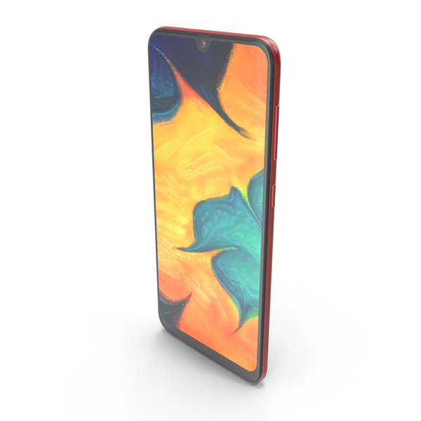 Smartphone: Samsung Galaxy A30 Red PNG & PSD Images