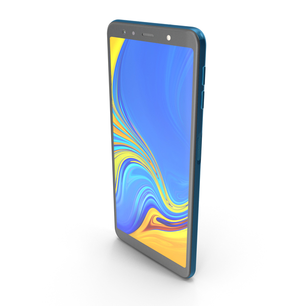 Samsung Galaxy A7 (2018) Blue PNG & PSD Images