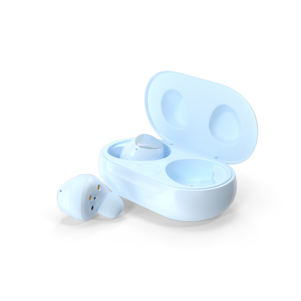 Samsung Galaxy Buds Plus with Charging Case Blue PNG & PSD Images