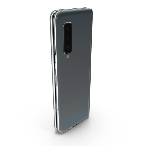 Smartphone: Samsung Galaxy Fold Silver Folded PNG & PSD Images