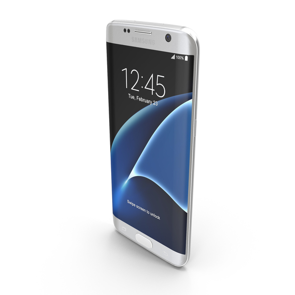 Smartphone: Samsung Galaxy S7 Edge White Pearl with SD/SIM Card Tray PNG & PSD Images