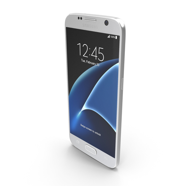 Smartphone: Samsung Galaxy S7 White Pearl with SD/SIM Card Tray PNG & PSD Images