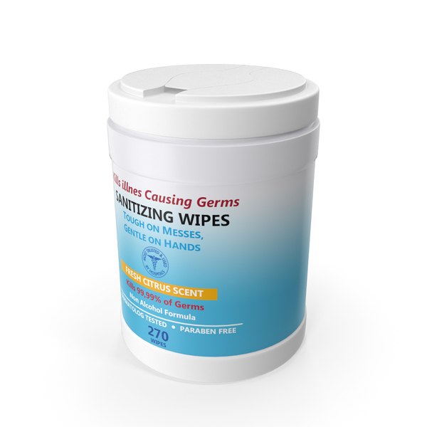 Wet Wipe: Sanitizing Wipes 270 Count Canister PNG & PSD Images