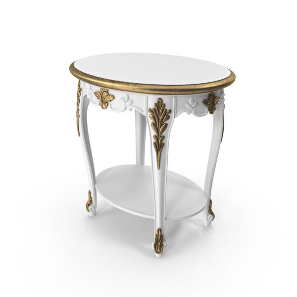 Savio Firmino White Baroque Bedroom Side Table PNG & PSD Images