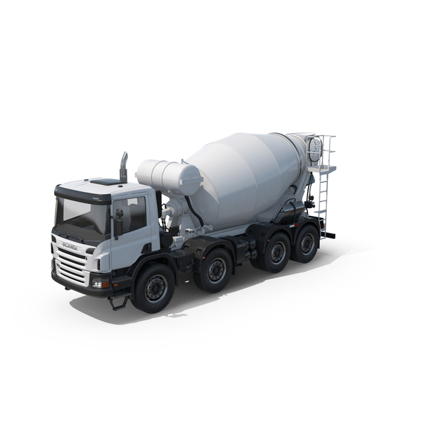 Large Truck: Scania White Concrete Mixer PNG & PSD Images