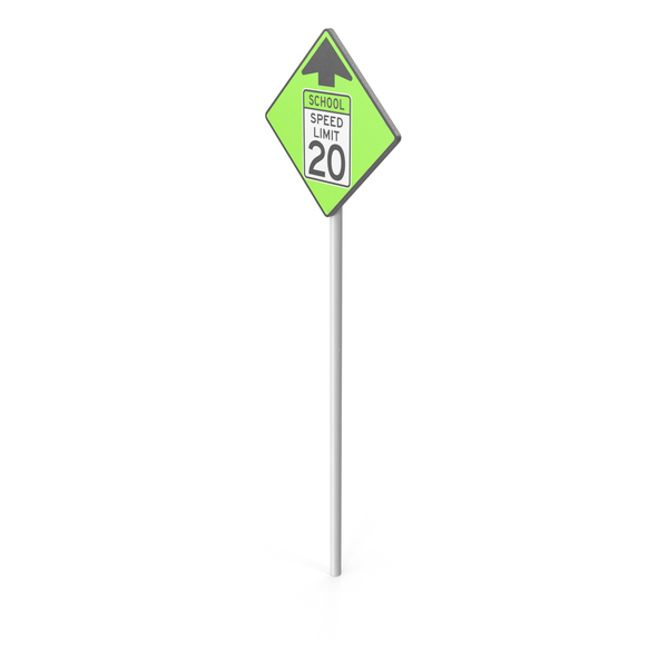 School Speed Limit Sign Object