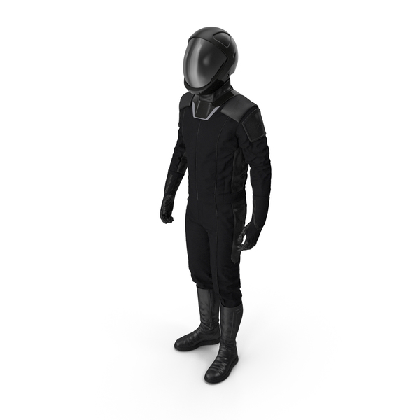Sci Fi Astronaut Suit Black Standing Pose PNG & PSD Images