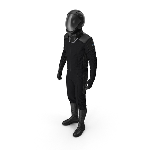 Astronaut: Sci Fi Space Suit Black Standing Pose PNG & PSD Images
