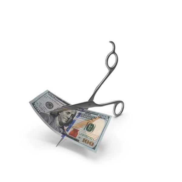 Scissors Cutting a 100 Dollar Bill PNG & PSD Images