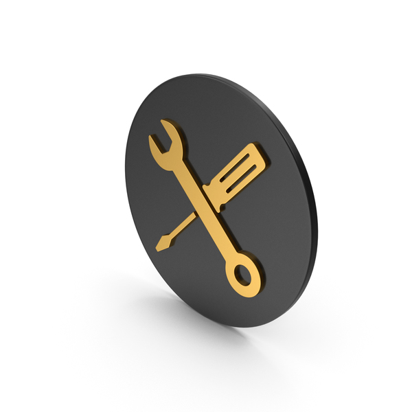 Logo: Screwdriver And Wrench Gold Icon PNG & PSD Images