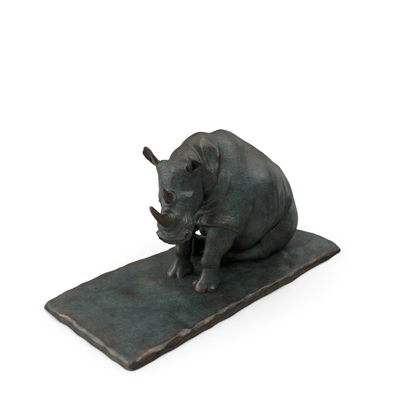 Animal Statue: Sculpture Sitting Rhino PNG & PSD Images