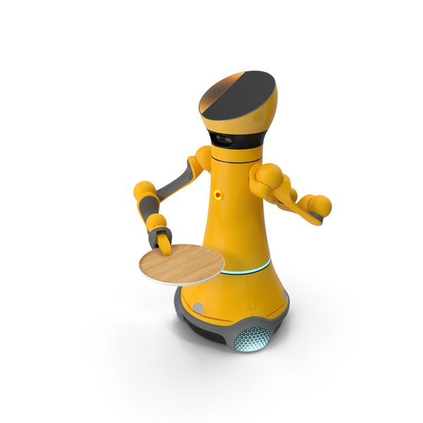 Service Robot with Wooden Tray PNG & PSD Images