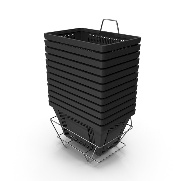 Set of 12 Black Shopping Baskets with Plastic Handles And Stand PNG & PSD Images