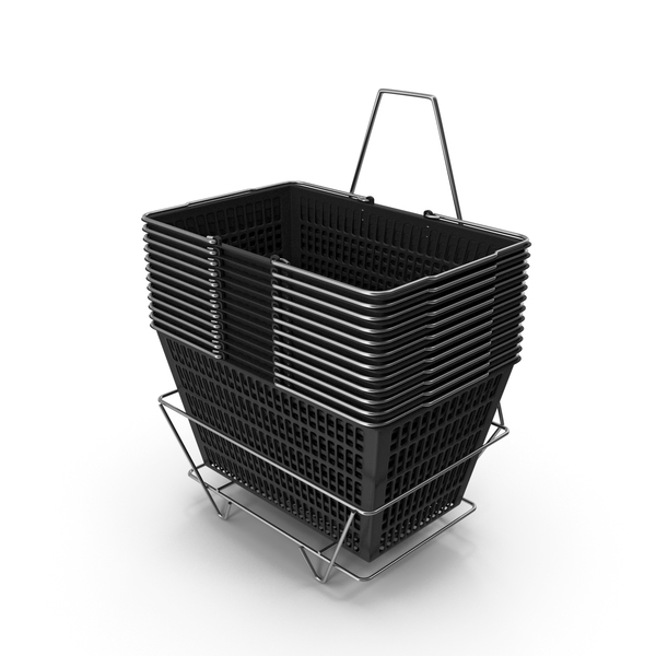 Set of 12 Black Shopping Baskets with Stand PNG & PSD Images