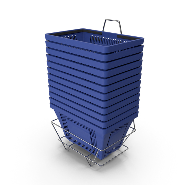 Set of 12 Blue Shopping Baskets PNG & PSD Images