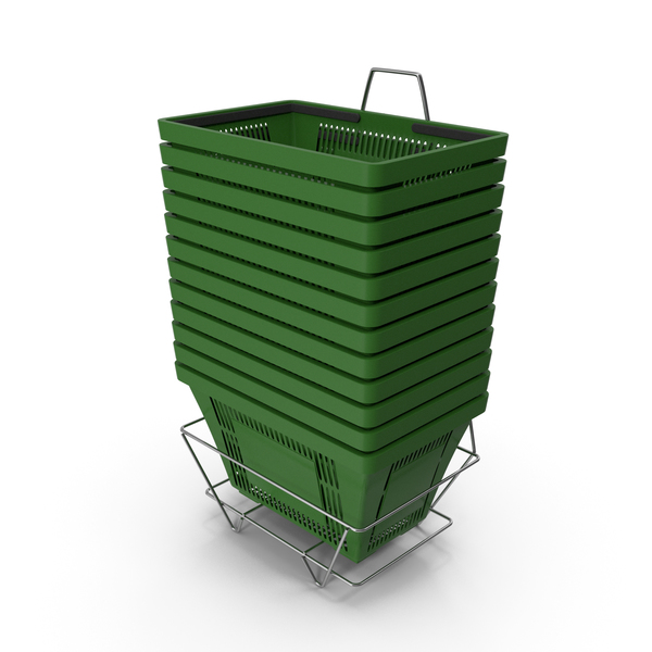 Basket: Set of 12 Green Shopping Baskets With Plastic Handles And Stand PNG & PSD Images
