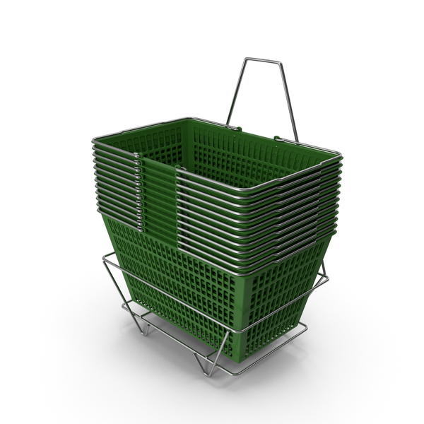 Set of 12 Green Shopping Baskets with Stand PNG & PSD Images