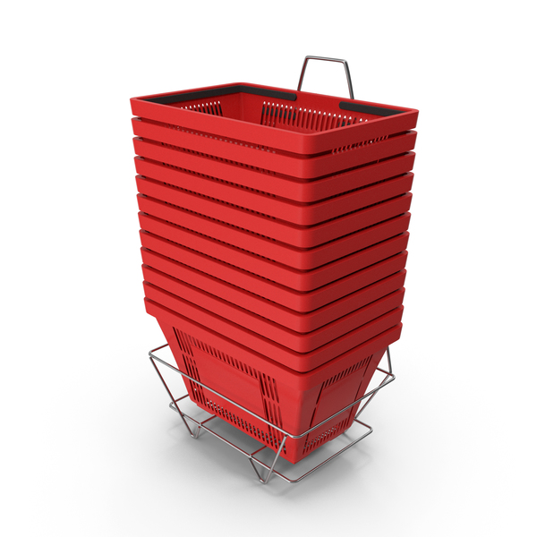 Set of 12 Red Shopping Baskets With Plastic Handles And Stand PNG & PSD Images