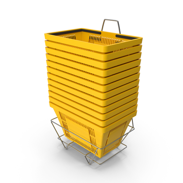 Set of 12 Yellow Shopping Baskets With Plastic Handles And Stand PNG & PSD Images