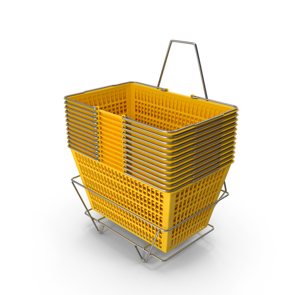 Basket: Set of 12 Yellow Shopping Baskets With Stand PNG & PSD Images
