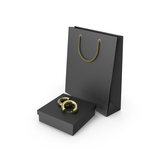 Set of Black Gift Box with Earrings, a Fabric Bag and Shopping Bag PNG & PSD Images