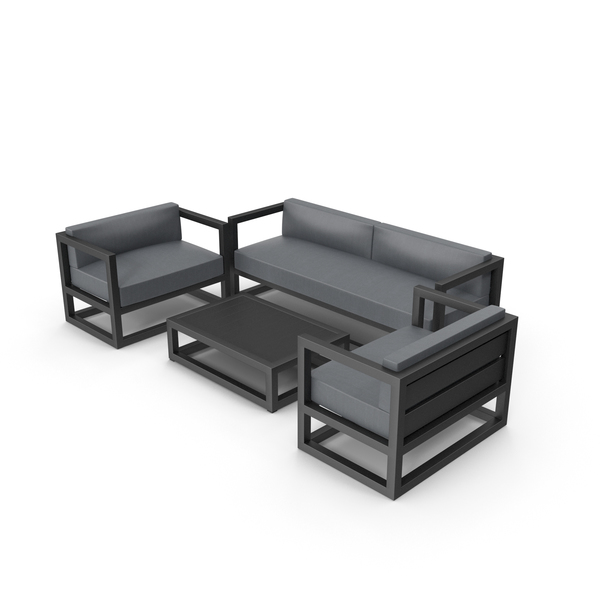 Patio Furniture: Set of Outdoor Sofas and Table PNG & PSD Images