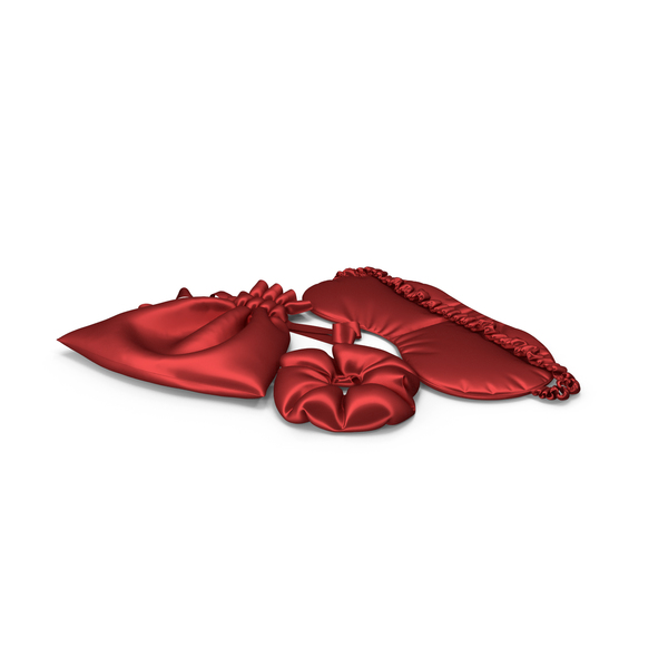 Set of Red Silk Sleep Mask, a Scrunchie and Bag PNG & PSD Images