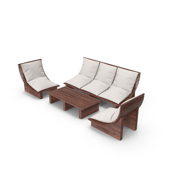 Set of Seater Outdoor Wood Platform Lounge Settings and Table PNG & PSD Images