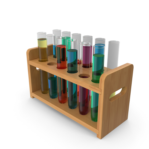 Set of Test Tubes in Rack PNG & PSD Images