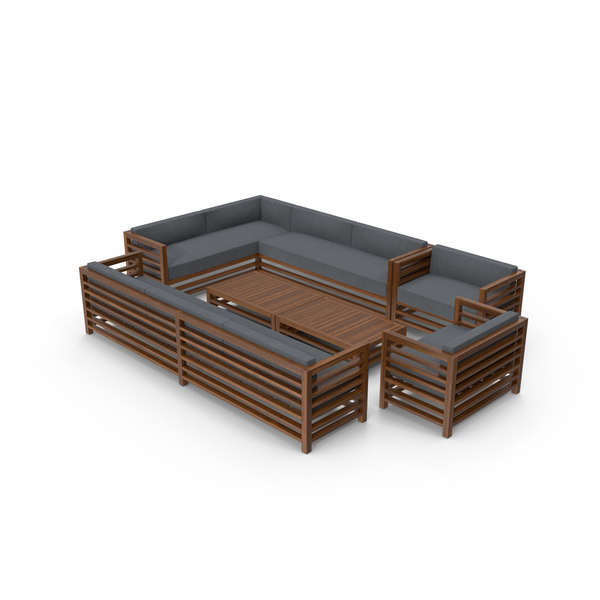 Sectional Sofa: Set of Wood Outdoor Sofas and Table PNG & PSD Images