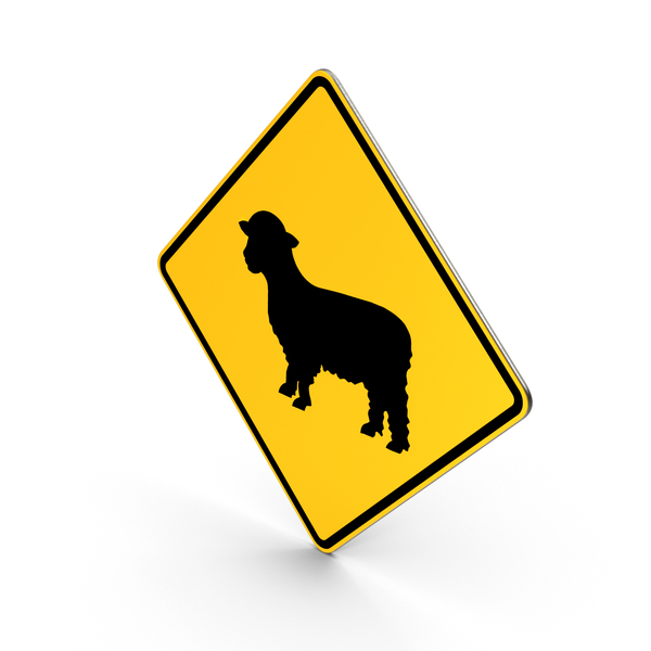 Sheep Crossing Road Sign PNG & PSD Images