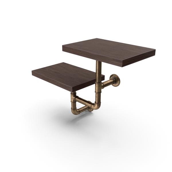 Shelving: Shelf Two Level Walnut PNG & PSD Images