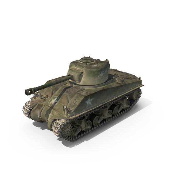 Sherman Tank Olive Scheme with Dust PNG & PSD Images