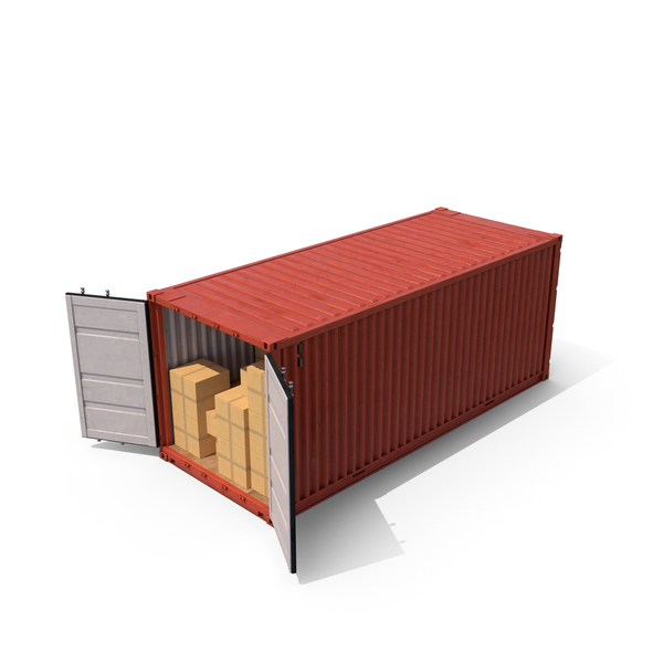 Shipping Container with Boxes Object