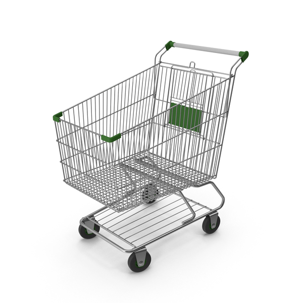 Shopping Сart with Green Plastic PNG & PSD Images