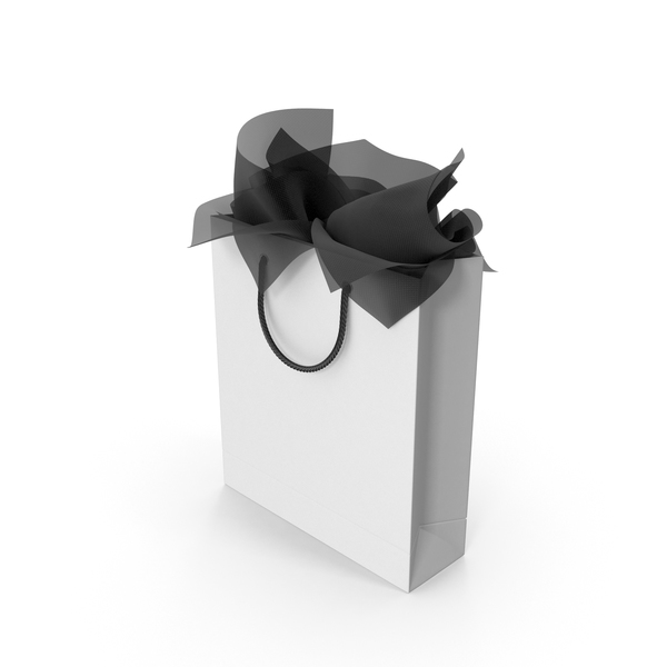 Shopping Bag with Black Gift Paper PNG & PSD Images