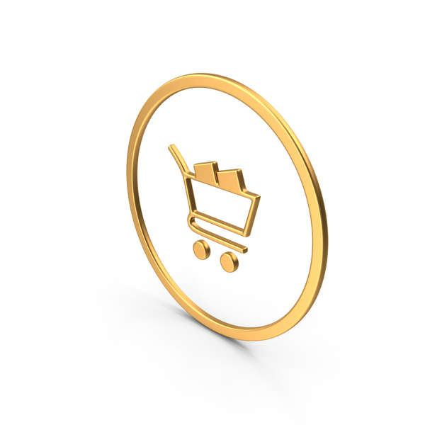 Shopping Card Symbol Gold PNG & PSD Images