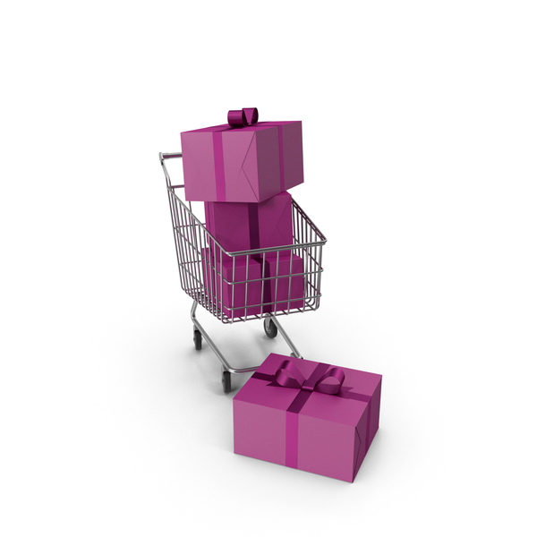 Shopping Cart with Black Gift Boxes PNG & PSD Images
