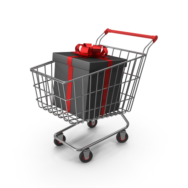 Shopping Cart with Black Packaging Bags and Gift Box PNG & PSD Images