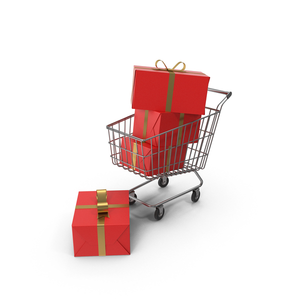 Shopping Cart with Red Gift Box PNG & PSD Images